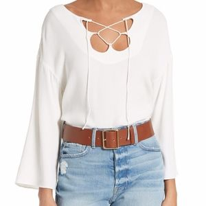 FRAME Shirt Mirrored Lace Up Blouse XS